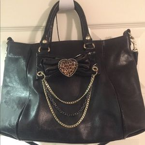 Black leather betsey Johnson purse